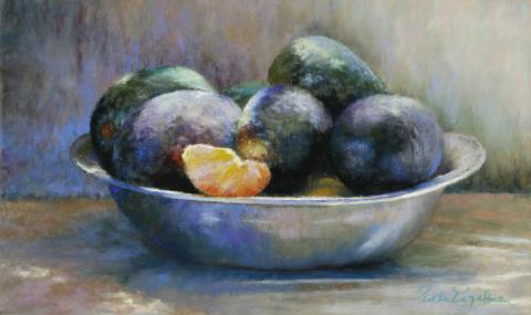 Avocados In Pewter 10 x 16 pastel