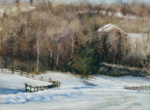 Blanketed In Snow 9 x 12 pastel