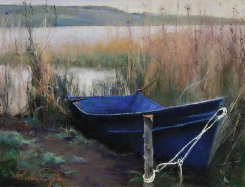 Blue Boat 9 x 12 pastel