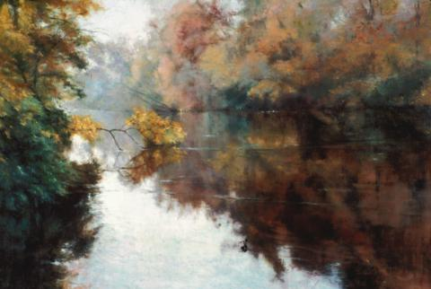 Branch on the Charles 20 x 30 pastel