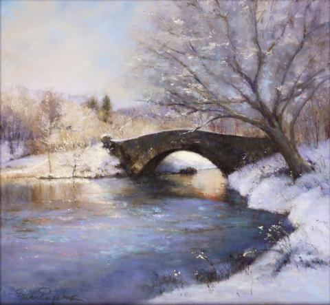 Bridge in Central Park 13 x 14 pastel