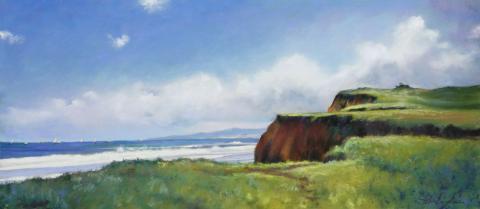 Coastal Bluff 12 x 27 pastel