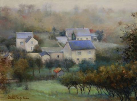 Countryside Hamlet 18 x 24 pastel