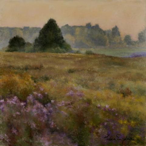 Golden Meadow 18 x 18 pastel