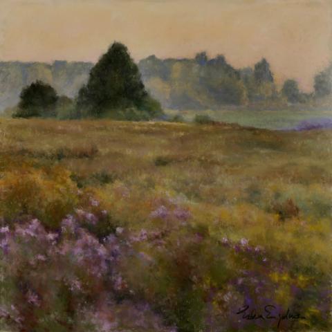 Golden Meadow 18 x 18 pastel