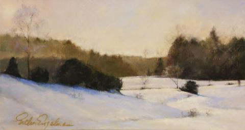 Landscape In White 7 x 13 pastel