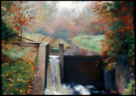 Little Dam - New England 12 x 16 pastel