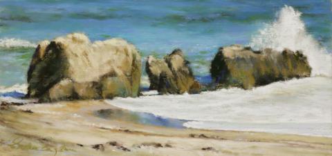 Malibu Rocks 6 x 12 pastel