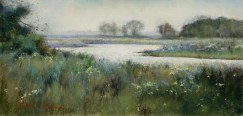 Misty Morning 8 x 16 pastel