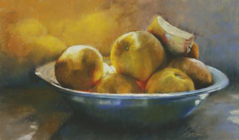 Oranges In Pewter 10 x 16 pastel