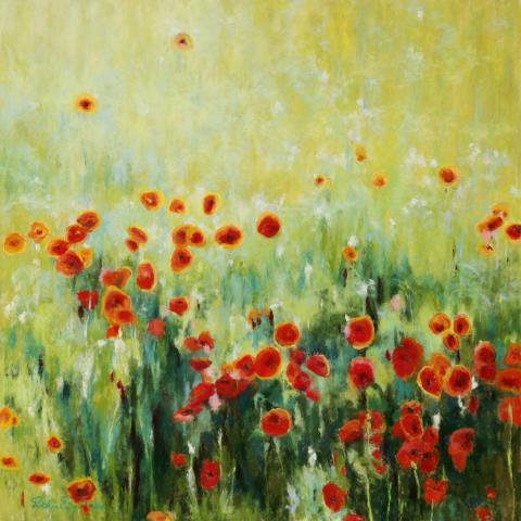 Poppies 30 x 30 pastel