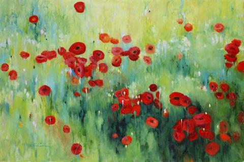 Red Poppies 24 x 36 oil