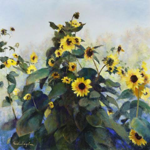 Sunflowers 30 x 30 pastel