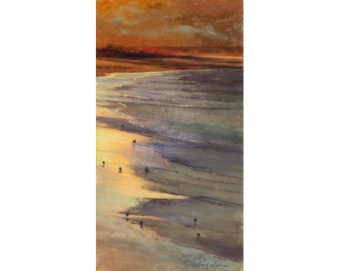 Sunset Beach 12 x 7 pastel