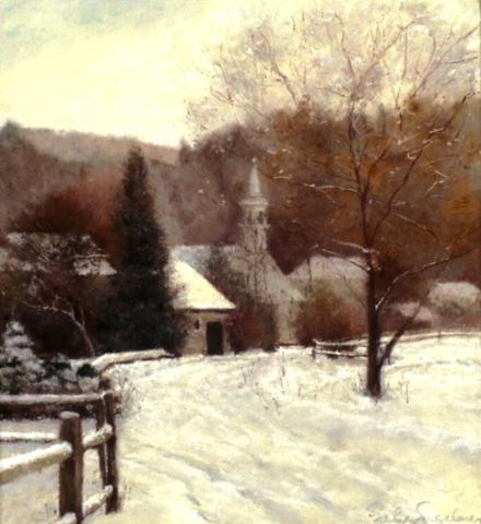Vermont Village 14 x 13 pastel