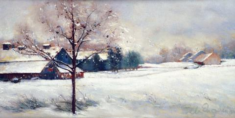 Winter Snowscape 8 x 16 pastel
