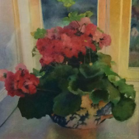 Geraniums 19 x 19 pastel